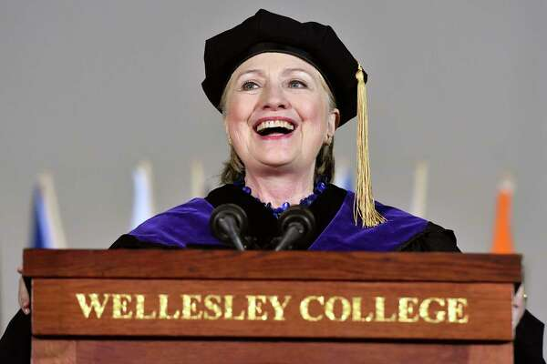 Former Secretary of State Hillary Clinton delivers the commencement address at Wellesley College, Friday, May 26, 2017 in Wellesley, Mass. Clinton graduated from the school in 1969. (AP Photo/Josh Reynolds) ORG XMIT: MACR103