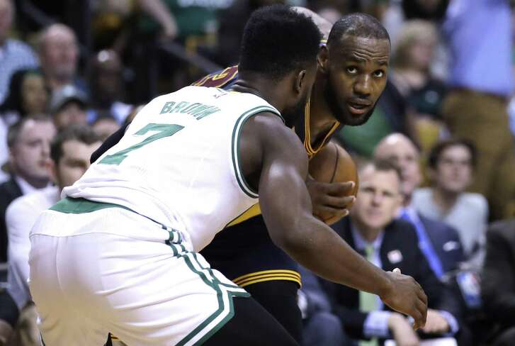 Cleveland Cavaliers forward LeBron James (23) during Game 1 of the NBA basketball Eastern Conference finals, in Boston, Wednesday, May 17, 2017. (AP Photo/Charles Krupa)