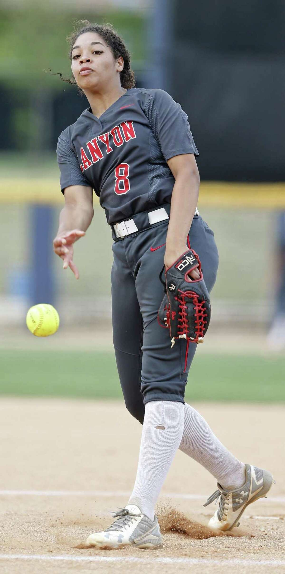 New Braunfels Canyon's Aliyah Pritchett pitches against Brennan during Game 2 of their Region IV-6A final series at St. Mary?•s University. Brennan won 5-1.