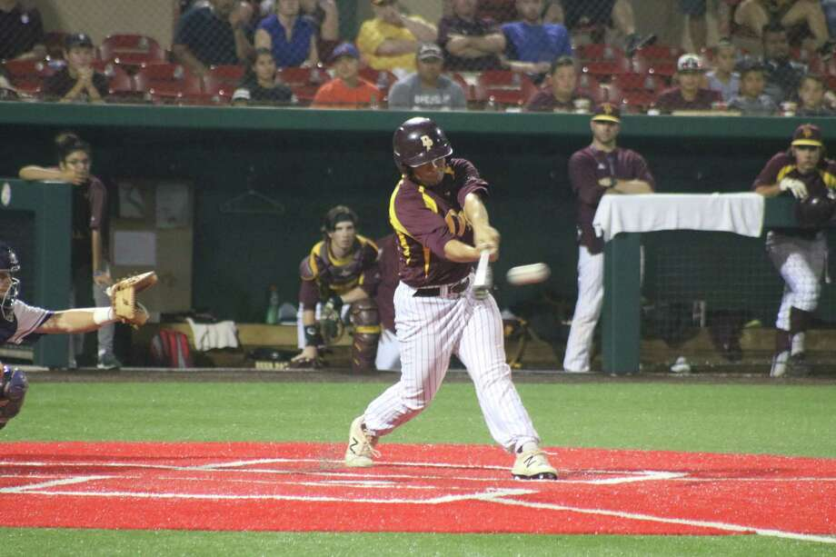 Jacobi Martinez connects for a hard-hit liner that went right to the shortstop, leaving the bases loaded in the sixth inning. It would be Deer Park's last threat of Game 2. Photo: Robert Avery