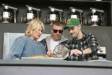 Martha Stewart, from left, Macklemore, and Ryan Lewis at BottleRock Napa Valley Music Festival at Napa Valley Expo on Friday, May 26, 2017, in Napa, Calif. (Photo by Amy Harris/Invision/AP)