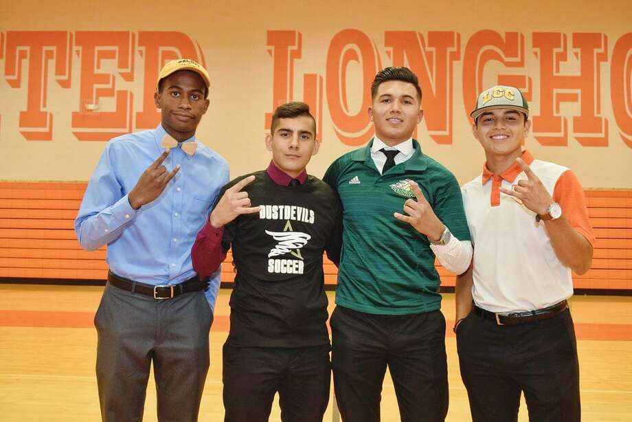 From left, United's Mauricio Penn, Aaron Alvarez, Hector Salazar and Alejandro Treviño all committed to continue their athletic careers at the next level Friday during a joint signing ceremony. Photo: Ulysses S. Romero /Laredo Morning Times