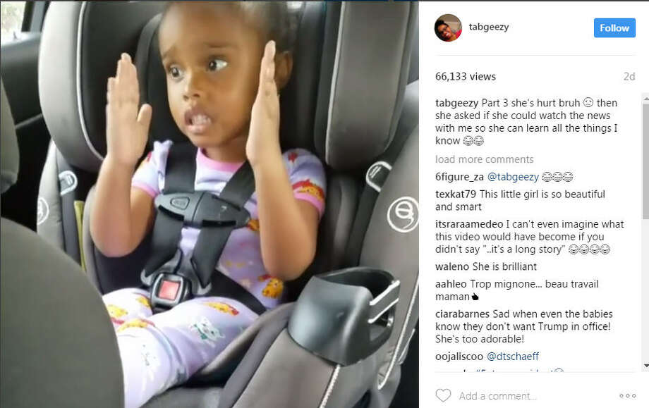 Three Instagram videos of a 5-year-old girl known as Taylor from Texas trying to get her mind around the idea that Barack Obama was no longer president went viral, with more than 50,000 people watching the clips. Photo: Tabgeezy/Intagram