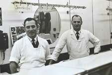 Norwalk Beef and Pork store owner Curt Mertin and his business partner Walter Pudill in their shop in the late 1960s in Ludlow Plaza, East Norwalk.