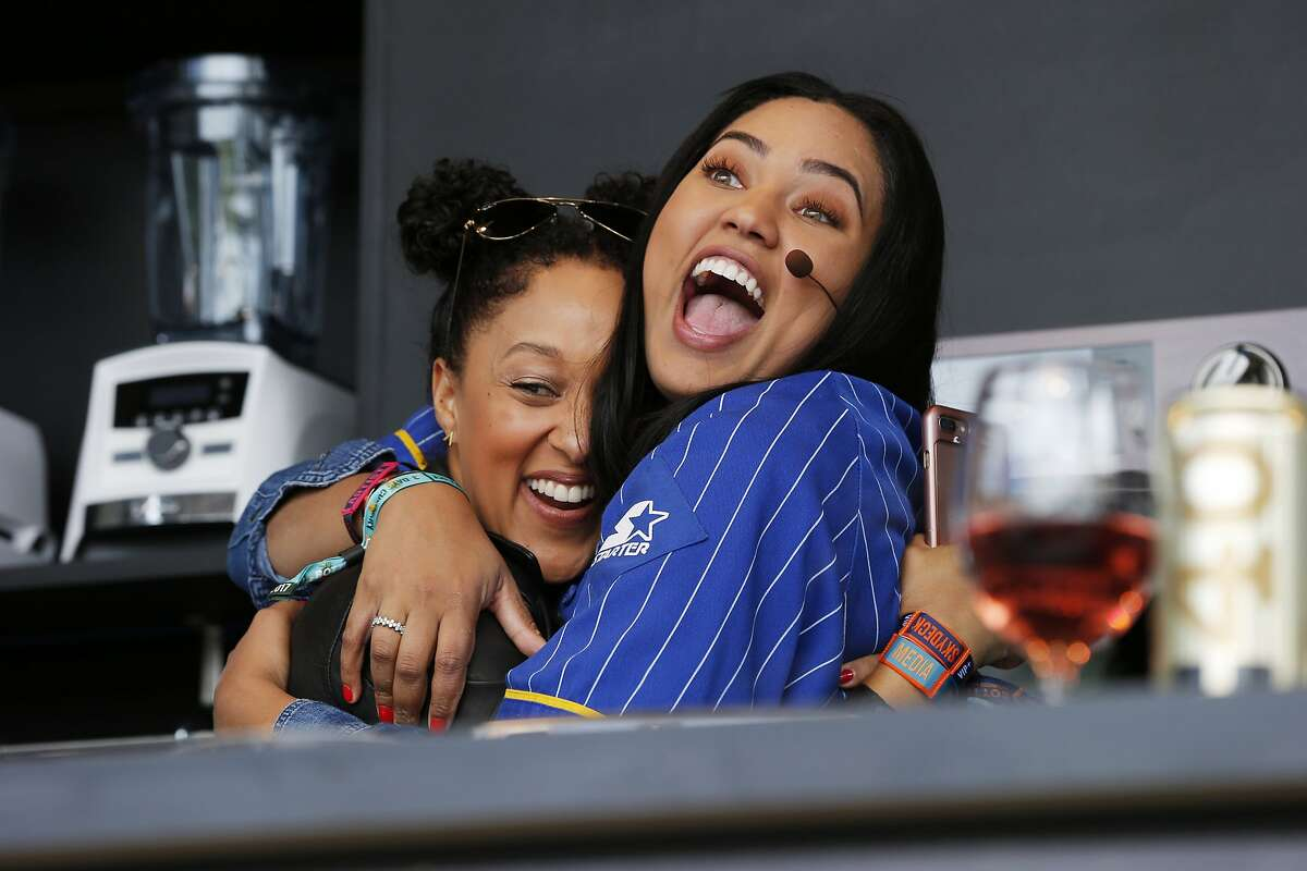 Tamera Mowry also dropped by Ayesha Curry's cooking demo during BottleRock at the Napa Valley Expo on Friday, May 26, 2017, in Napa, Calif.