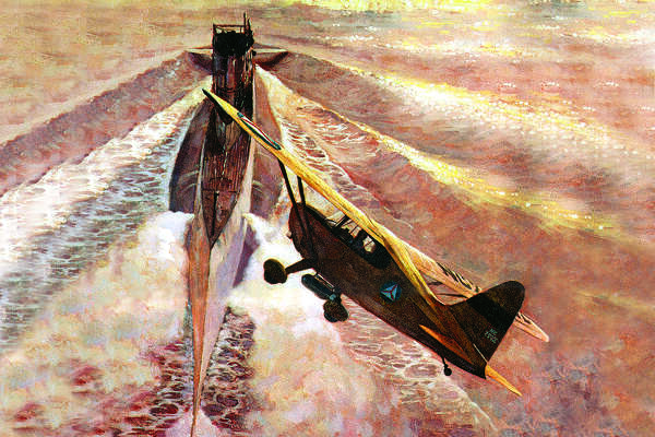 This 1972 painting by Robert C. Sherry illustrates the vital mission Civil Air Patrol pilots and observers performed during World War II by patrolling the Gulf of Mexico in search of enemy submarines as well as the Mexican border for illegal activity. This painting is reproduced with permission from the Civil Air Patrol National Headquarters.