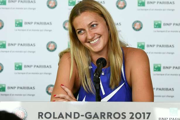 Czech Petra Kvitova attends a press conference ahead of the Roland Garros 2017 French Tennis Open on May 26, 2017 in Paris.  / AFP PHOTO / JORGE GUERREROJORGE GUERRERO/AFP/Getty Images