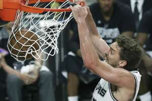 Pau Gasol slams one home a dunk in the first half as the Spurs host Golden State in Game 3 of the Western Conference finals at the AT&T Center on May 20, 2017.