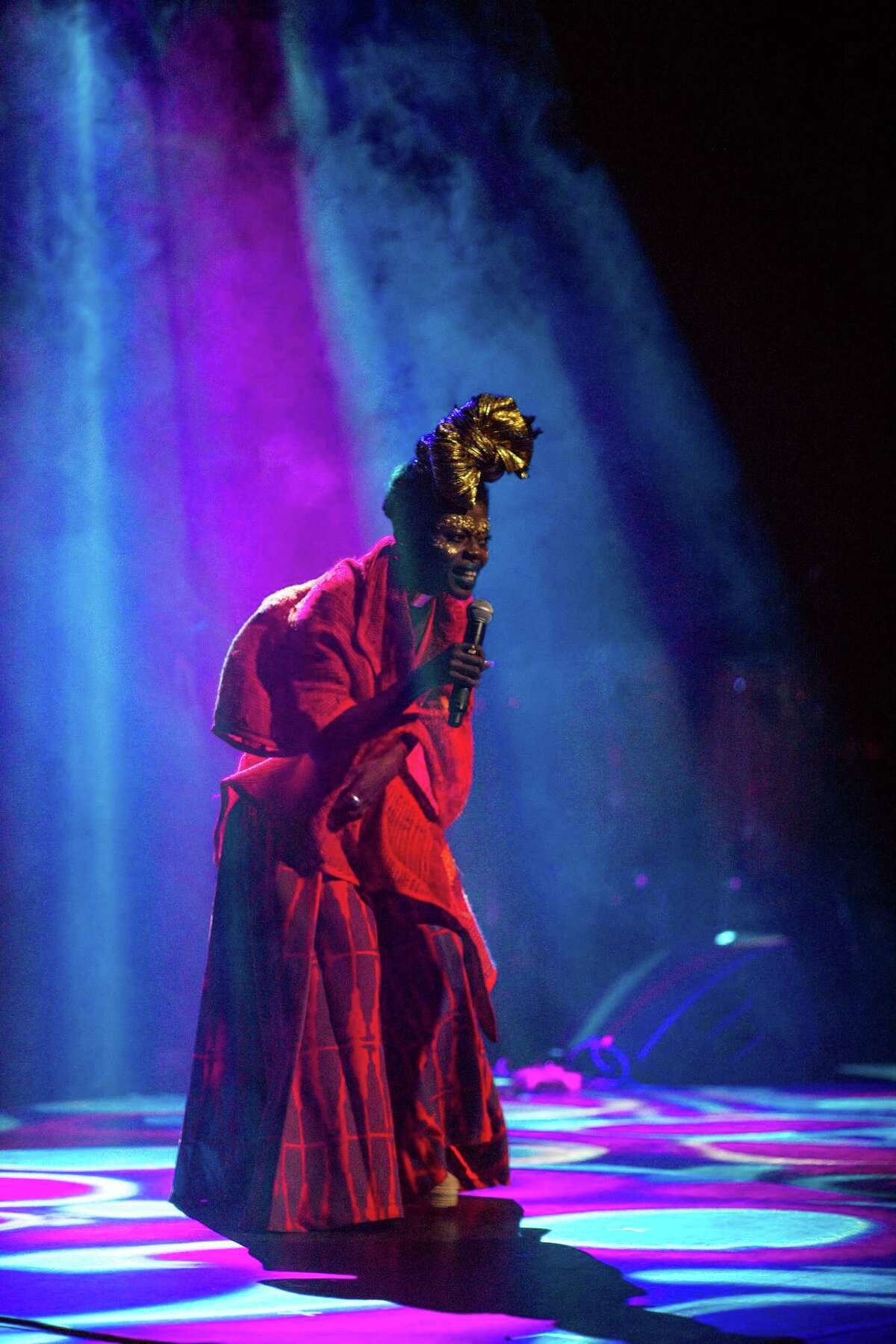 Jojo Abot, from Ghana, performs during the fourth annual Africa Now! concert at Apollo Theater in the Harlem neighborhood of New York, March 26, 2016. AbotOs performance, one of the eveningOs four acts, featured music that drew as much from reggae, electronics and alternative R&B as from direct African sources. (Emon Hassan/The New York Times) ORG XMIT: XNYT37