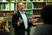 Joe Ganim attends an education forum held at the Bridgeport Public Library in 2015.