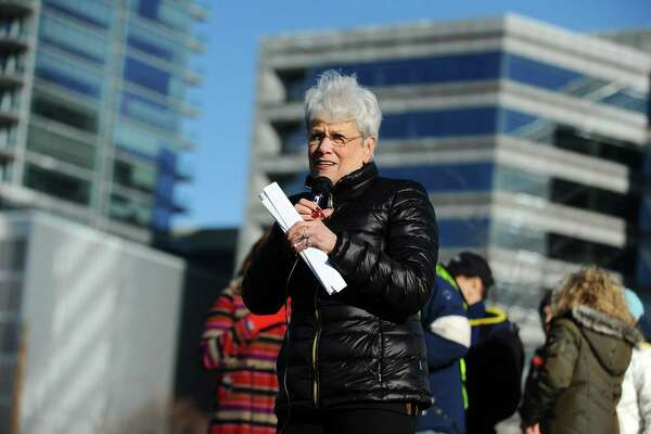 Lieutenant Gov. Nancy Wyman speaks at the rally organized by the Fairfield County Democrats at Mill River Park in Stamford, Conn. on Sunday, Jan. 15, 2017.