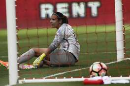 Houston Dash goalkeeper Lydia Williams (18) reacts to the ball went into the net by Seattle Reign FC forward Megan Rapinoe (15) during the first half of the game at BBVA Compas Stadium Saturday, May 27, 2017, in Houston . ( Yi-Chin Lee / Houston Chronicle )