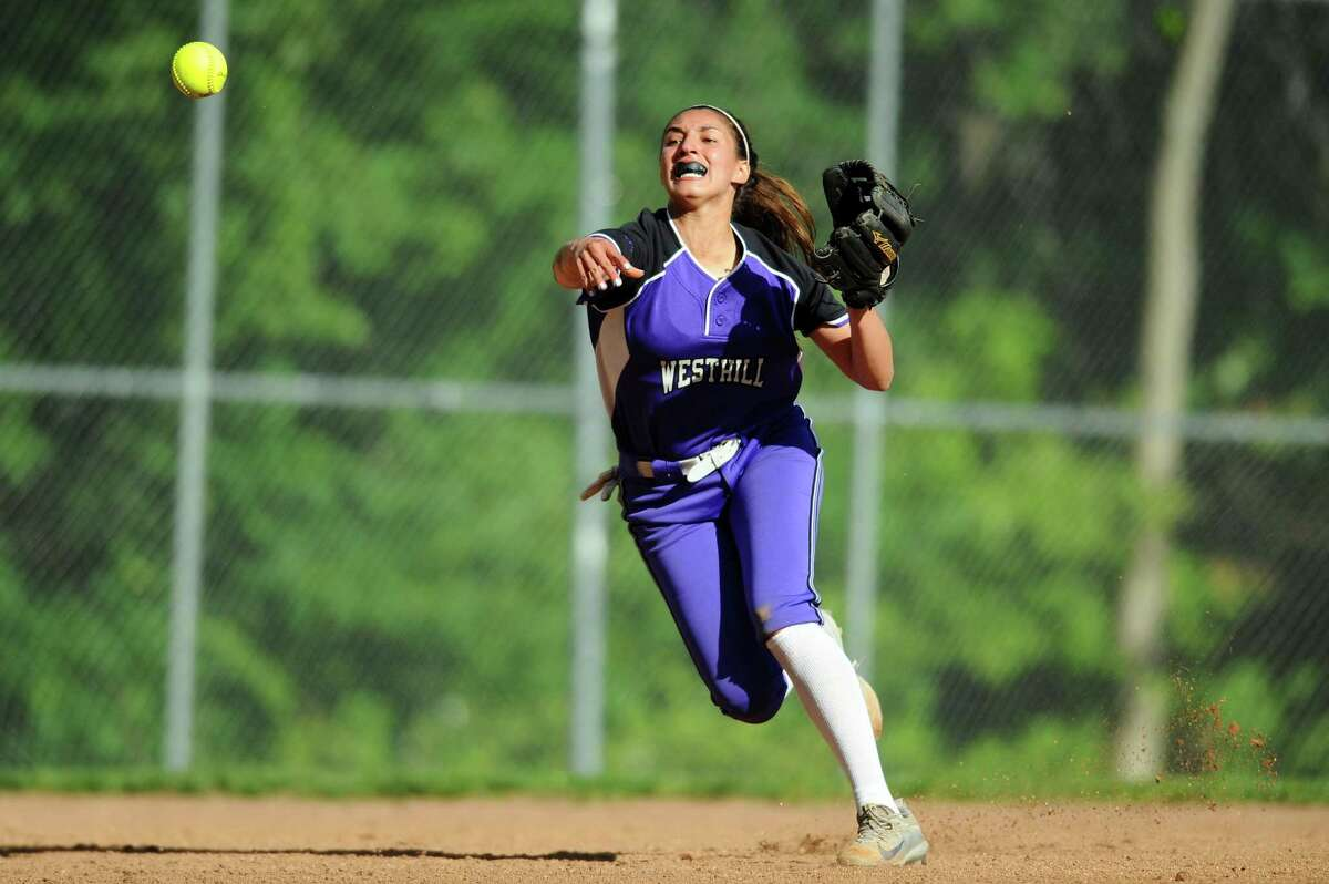 Westhill shortstop Gabriella Laccona fires a bullet to first base after cleanly fielding a sharp ground ball during the varsity softball game against Stamford High at Allyson Rioux Field in Stamford, Conn. on Monday, May 15, 2017.