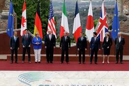 G7 leaders pose in Taormina, Italy, on May 26. (AP Photo/Andrew Medichini)