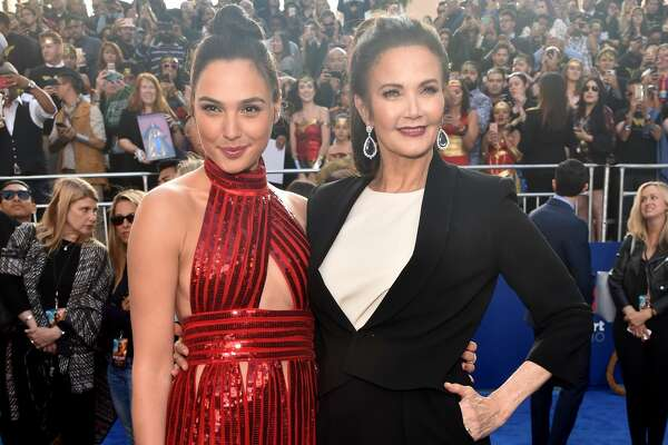 "HOLLYWOOD, CA - MAY 25:  Actors Gal Gadot (L) and Lynda Carter attend the premiere of Warner Bros. Pictures' ""Wonder Woman"" at the Pantages Theatre on May 25, 2017 in Hollywood, California.  (Photo by Alberto E. Rodriguez/Getty Images)"