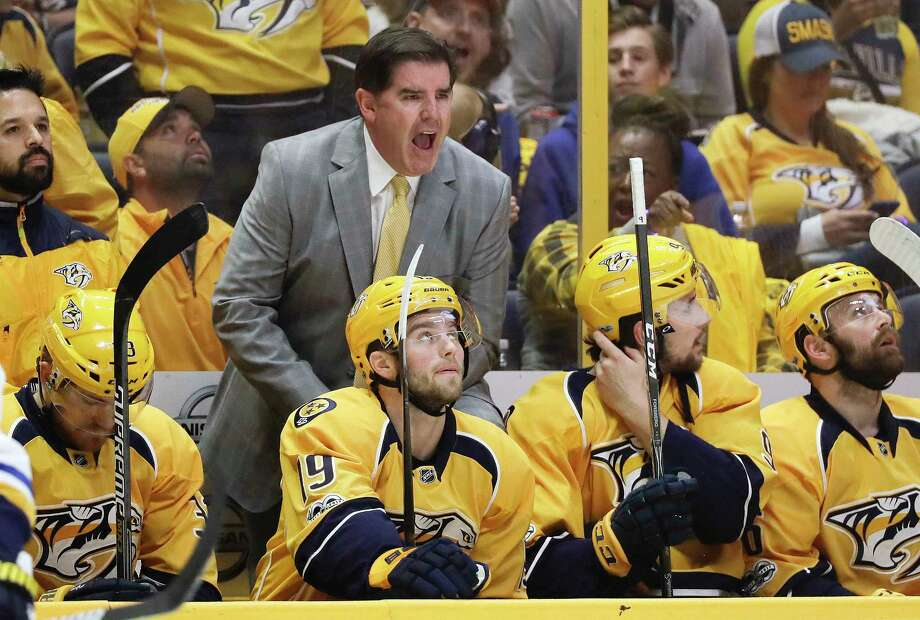Nashville's Peter Laviolette, left, and Pittsburgh's Mike Sullivan grew up about an hour apart in Massachusetts, coached the same American Hockey League team and served a stint on Boston's staff. Photo: Mark Humphrey, STF / Copyright 2017 The Associated Press. All rights reserved.