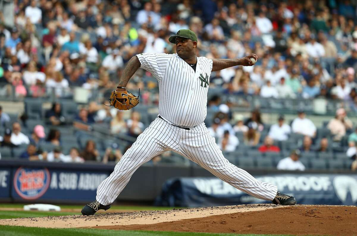 NEW YORK, NY - MAY 27: CC Sabathia #52 of the New York Yankees pitches against the Oakland Athletics during their game at Yankee Stadium on May 27, 2017 in New York City. (Photo by Al Bello/Getty Images)