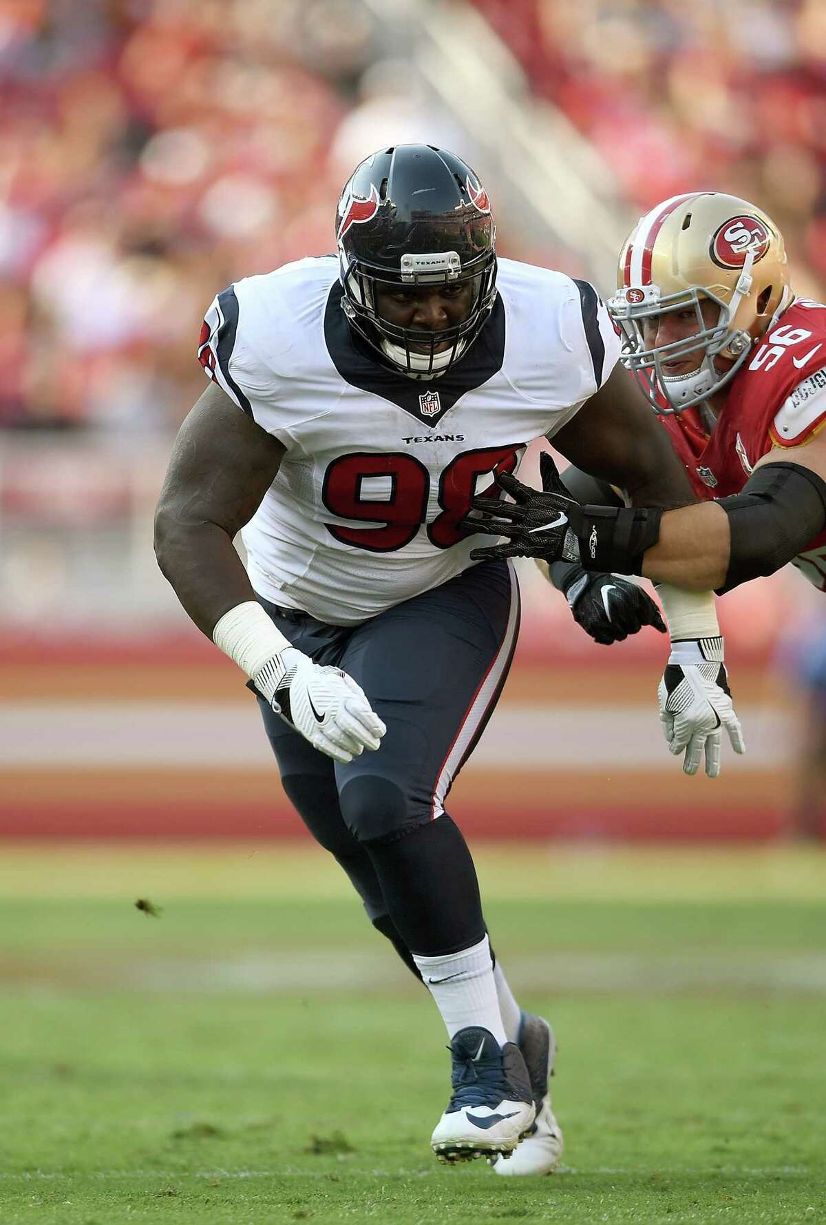 SANTA CLARA, CA - AUGUST 14: Nose tackle D.J. Reader #98 of the Houston Texans pursues the play against the San Francisco 49ers in the third quarter in a preseason game at Levi's Stadium on August 14, 2016 in Santa Clara, California. (Photo by Thearon W. Henderson/Getty Images)