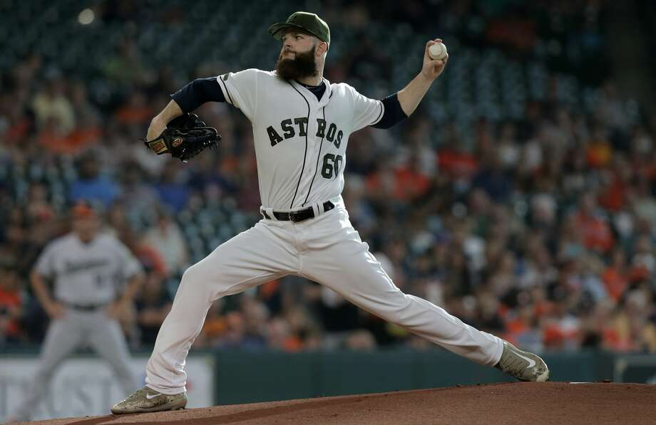 Houston Astros starting pitcher Dallas Keuchel (60) pitches in the first inning against the Baltimore Orioles in the second of a three-game series at Minute Maid Park on Saturday, May 27, 2017, in Houston. Astros lead the series 1-0. ( Elizabeth Conley / Houston Chronicle ) Photo: Elizabeth Conley/Houston Chronicle
