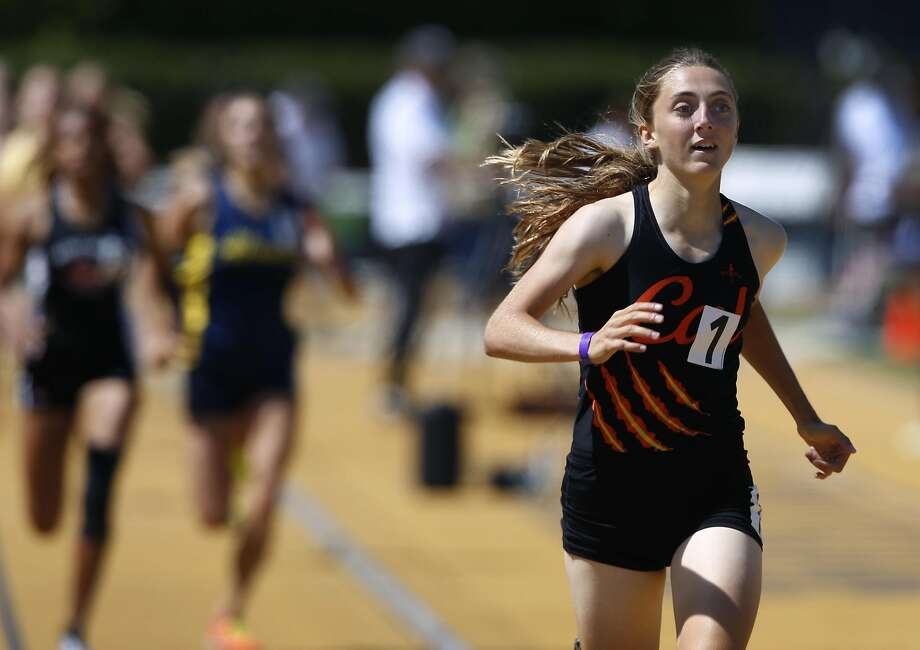 Alyssa Brewer from California High School sets a new meet record in the girls 800 meter run at the North Coast Section Meet of Champions in Berkeley, Calif. on Saturday, May 27, 2017. Photo: Paul Chinn, The Chronicle
