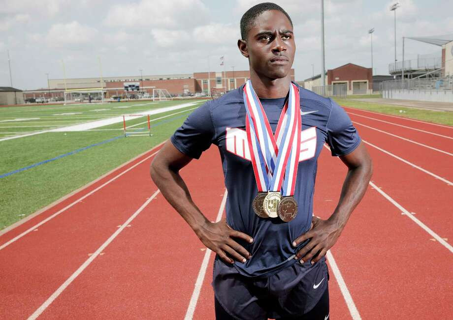 Manvel High School senior Caleb Jolivette poses for a photo at his school's track on Thursday, May 18, 2017, in Manvel. Caleb won the Class 5A 100-meter dash and helped two relay teams finish second and is the Houston Chronicle's  All-Greater Houston girls track athlete of the year.( Elizabeth Conley / Houston Chronicle ) Photo: Elizabeth Conley, Staff / © 2017 Houston Chronicle