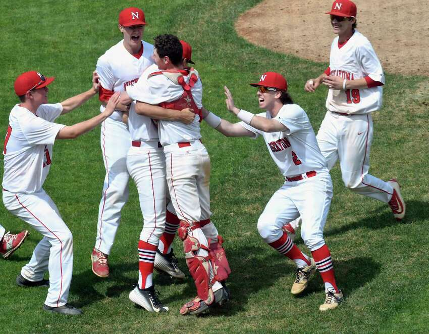 Niskayuna players celebrate a 4-0 win against Shenendehowa during a Section II Class AA boys high school baseball final in Troy, N.Y., Saturday, May 27, 2017. (Hans Pennink / Special to the Times Union) ORG XMIT: HP114