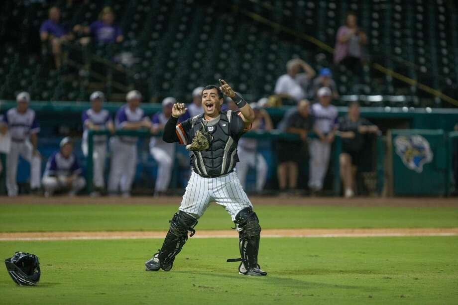 Sam Houston St. catcher Robie Rojas (9) celebrates after Sam Houston St. defeated Central Arkansas during the Southland Conference Tournament Championship between University of Central Arkansas vs Sam Houston State University at Constellation Field, Saturday, May 27, 2017, in Sugarland. Sam Houston St. defeated Central Arkansas 9-4. (Juan DeLeon/for the Houston Chronicle) Photo: Juan DeLeon/For The Chronicle