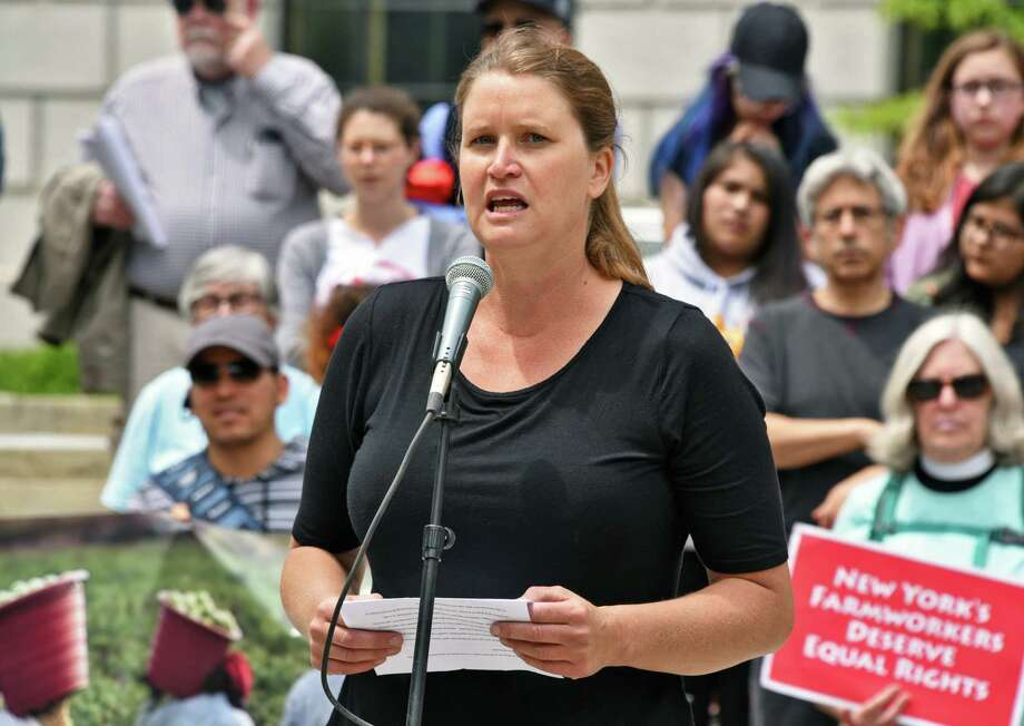 Jody Bolluyt of Roxbury Farm speaks during a rally outside the Capitol to advocate for the Farmworker Fair Labor Practices Act Tuesday May 23, 2017 in Albany, NY.  (John Carl D'Annibale / Times Union) Photo: John Carl D'Annibale / 20040576A