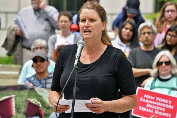 Jody Bolluyt of Roxbury Farm speaks during a rally outside the Capitol to advocate for the Farmworker Fair Labor Practices Act Tuesday May 23, 2017 in Albany, NY.  (John Carl D'Annibale / Times Union)