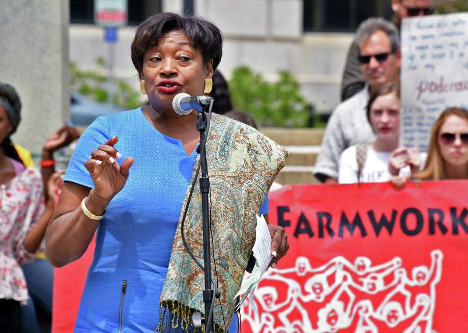 Senate Minority Leader Andrea Stewart-Cousins speaks during a rally outside the Capitol to advocate for the Farmworker Fair Labor Practices Act Tuesday May 23, 2017 in Albany, NY.  (John Carl D'Annibale / Times Union) Photo: John Carl D'Annibale / 20040576A