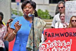 Senate Minority Leader Andrea Stewart-Cousins speaks during a rally outside the Capitol to advocate for the Farmworker Fair Labor Practices Act Tuesday May 23, 2017 in Albany, NY.  (John Carl D'Annibale / Times Union)