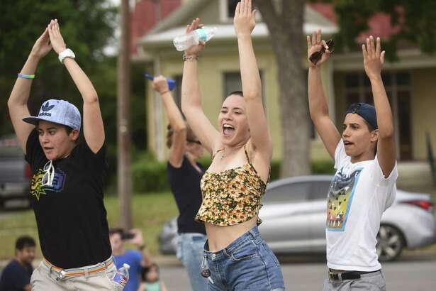 People participating in a gay pride flash mob dance at Dignowity Park, across the street from the home of Mayor Ivy Taylor on Saturday, May 27, 2017. Organizer Rosey Abuabara said the dance was a protest against Taylor, who she said voted against a proposed nondiscrimination ordinance as a councilwoman.
