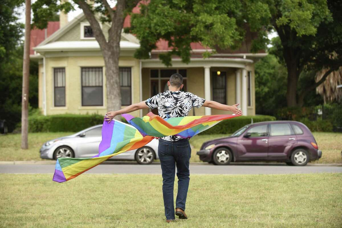 Jorge Estevez participates in a gay pride flash mob at Dignowity Park across the street from the home of Mayor Ivy Taylor on Saturday, May 27, 2017. Organizer Rosey Abuabara said the dance was a protest against Taylor, who she said voted against a proposed nondiscrimination ordinance as a councilwoman.