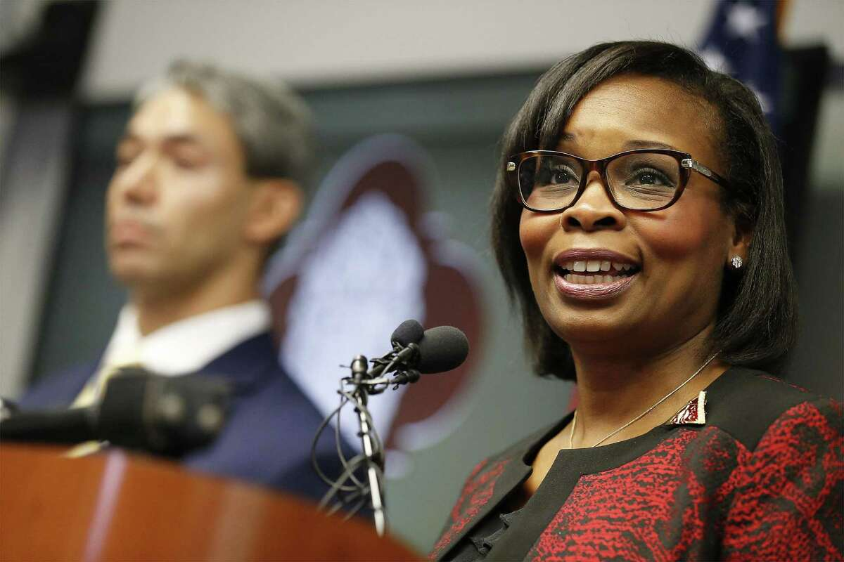 Mayor Ivy Taylor (right) addresses the media alongside District 8 Councilman Ron Nurinberg (left) as San Antonio City Council approved the city?'s three SA Tomorrow plans Thursday, Aug. 11, 2016 restoring environmental proposals to the master-planning documents that were in danger of being removed but also thwarting efforts by Nirenberg to reinstate a litany of other provisions. The three documents, which address comprehensive planning, multimodal transportation and sustainability, have been in the works for more than a year. SA Tomorrow is designed to help the city prepare for an additional 1.1 million people expected to live in Bexar County by the year 2040. (Kin Man Hui/San Antonio Express-News)