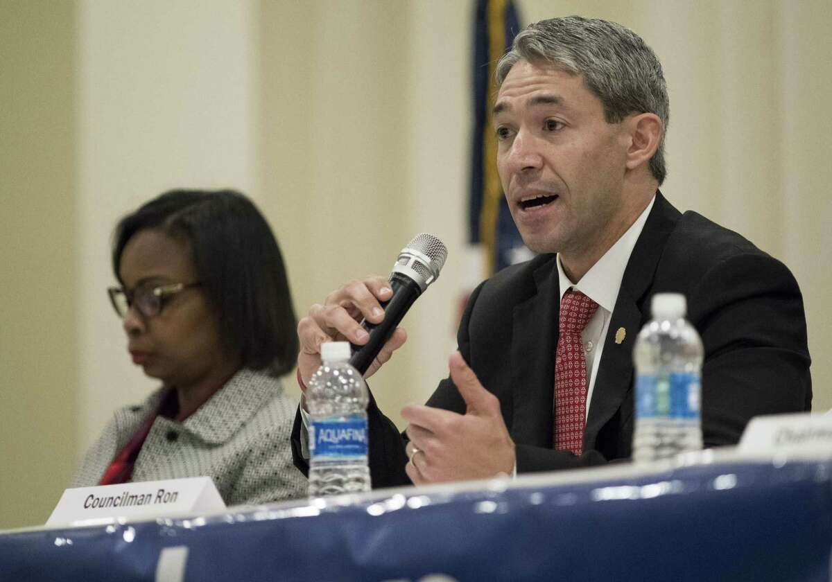San Antonio City Councilman and mayoral candidate Ron Nirenberg, right, speaks during a mayoral forum hosted by the Asian American Alliance of San Antonio, Saturday, Feb. 25, 2017, in San Antonio. (Darren Abate/For the San Antonio Express-News)