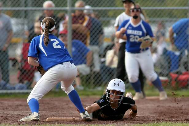 Ballston Spa Scotties' Ana Gold (4) slides safely into second base during the Section II Class AA softball championship Saturday May 27, 2017 in Malta, NY. Final Score, Shaker 5, Ballston Spa 2.  (Robert Dungan / Special to The Times Union)