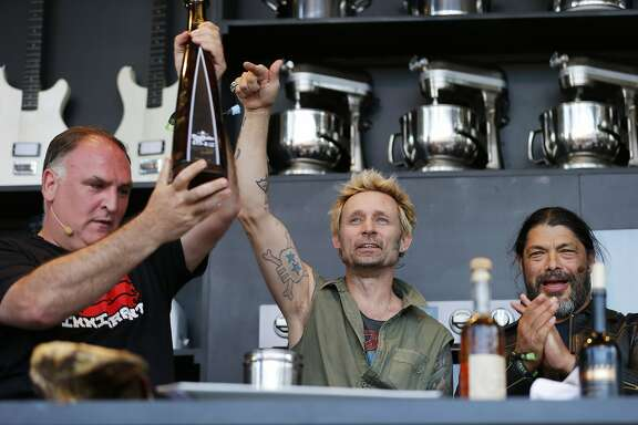 From left: Chef Jose Andres, Green Day�s Mike Dirnt and Metallica�s Robert Trujillo during a culinary demonstration at BottleRock on Saturday, May 27, 2017, in Napa, Calif.