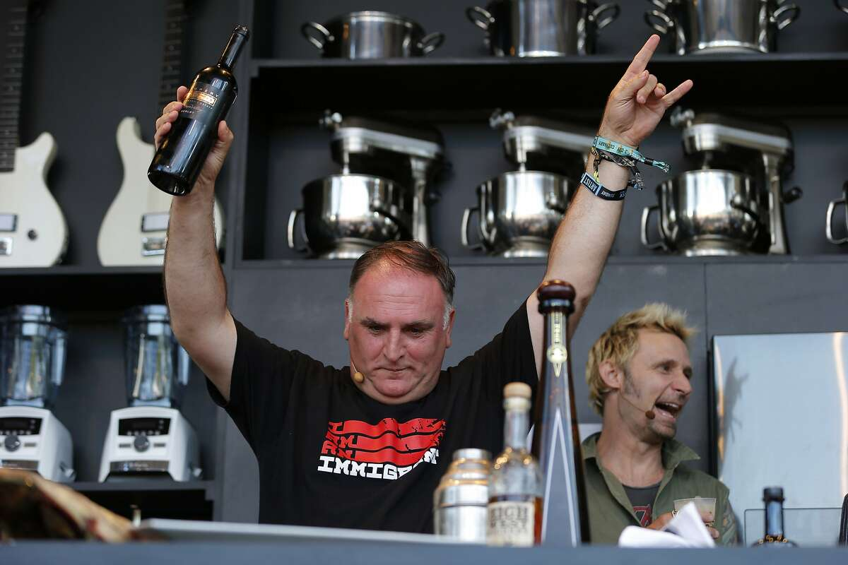 Chef Jose Andres with wine during a culinary demonstration at BottleRock on Saturday, May 27, 2017, in Napa, Calif.
