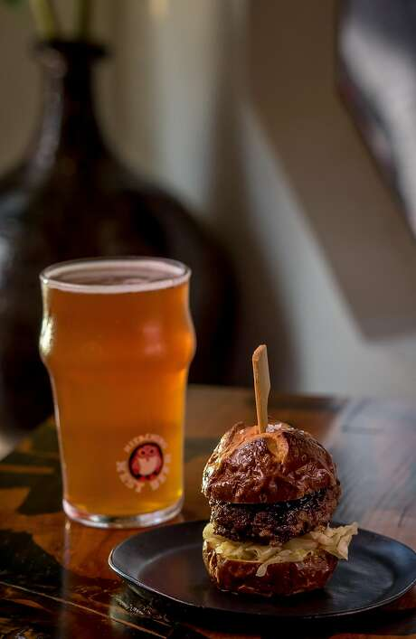 A Hitachi wagyu slider with Japanese classic ale at Hitachino. Photo: John Storey, Special To The Chronicle