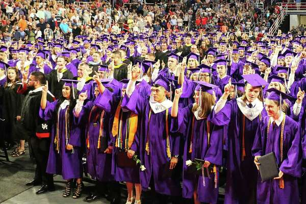 Dayton High School Class of 2017 sings the school song for a final time. The Broncos graduated on Saturday at the Montagne Center on the campus of Lamar University.