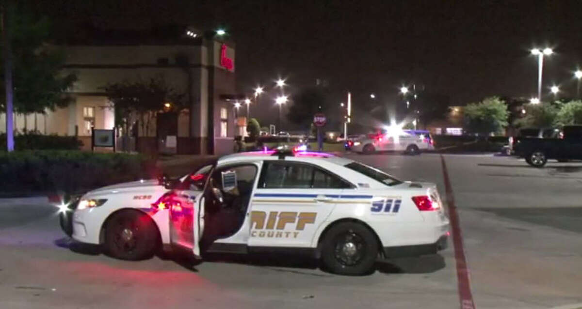 A man was shot Saturday night after pointing a gun at a security guard.