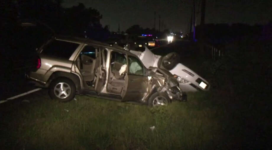 One person was killed and four hospitalized after a Saturday evening car crash just south of the beltway. Photo: Metro Video