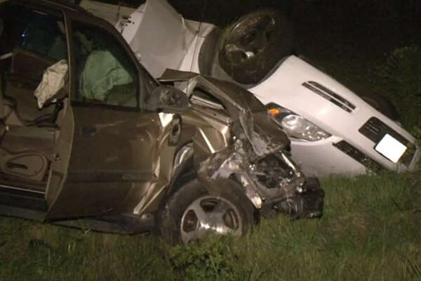 One person was killed and four hospitalized after a Saturday evening car crash just south of the beltway.
