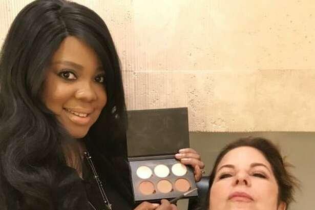 Connecticut Celebrity Makeup Artist Brandy Gomez-Duplessis working on jewelry designer Karen at Warren Tricomi at The Plaza Hotel