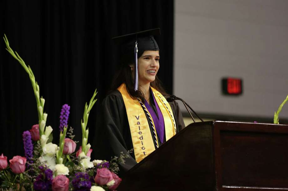 Infinity Early College High School Valedictorian Camila Maia offered words of wisdom and said goodbye to her friends during her valedictory address. Photo: Submitted