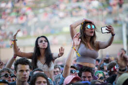 Girls get a lift for selfies and dancing as MGMTperforms on the second day of Sasquatch! Music Festival at the Gorge Amphitheater on Saturday, May 27, 2017.