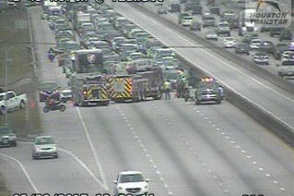 A crash snarled Sunday afternoon traffic on I-45.