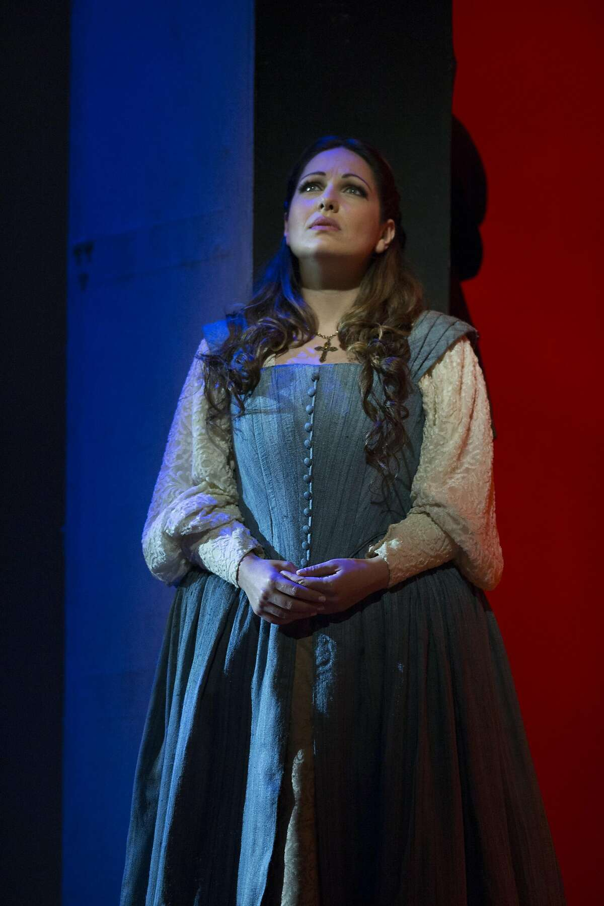 "Nino Machaidze as Gilda, in a scene from San Francisco Opera's production of Giuseppe Verdi's ""Rigoletto,"" Saturday, May 27, 2017, at the War Memorial Opera House in San Francisco, Calif."