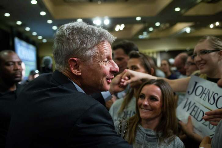 Libertarian Party presidential nominee Gary Johnson greets supporters following a 2016 rally at the Sheraton in Seattle. (Grant Hindsley / seattlepi.com)