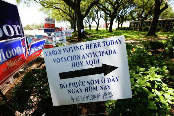 Candidate signs fill the sidewalk in front of the Pasadena City Hall on the last day of early voting, Tuesday, May 5, 2017, in Pasadena.  (Mark Mulligan / Houston Chronicle)